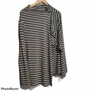 Bobeau long sleeve striped wrap cardigan